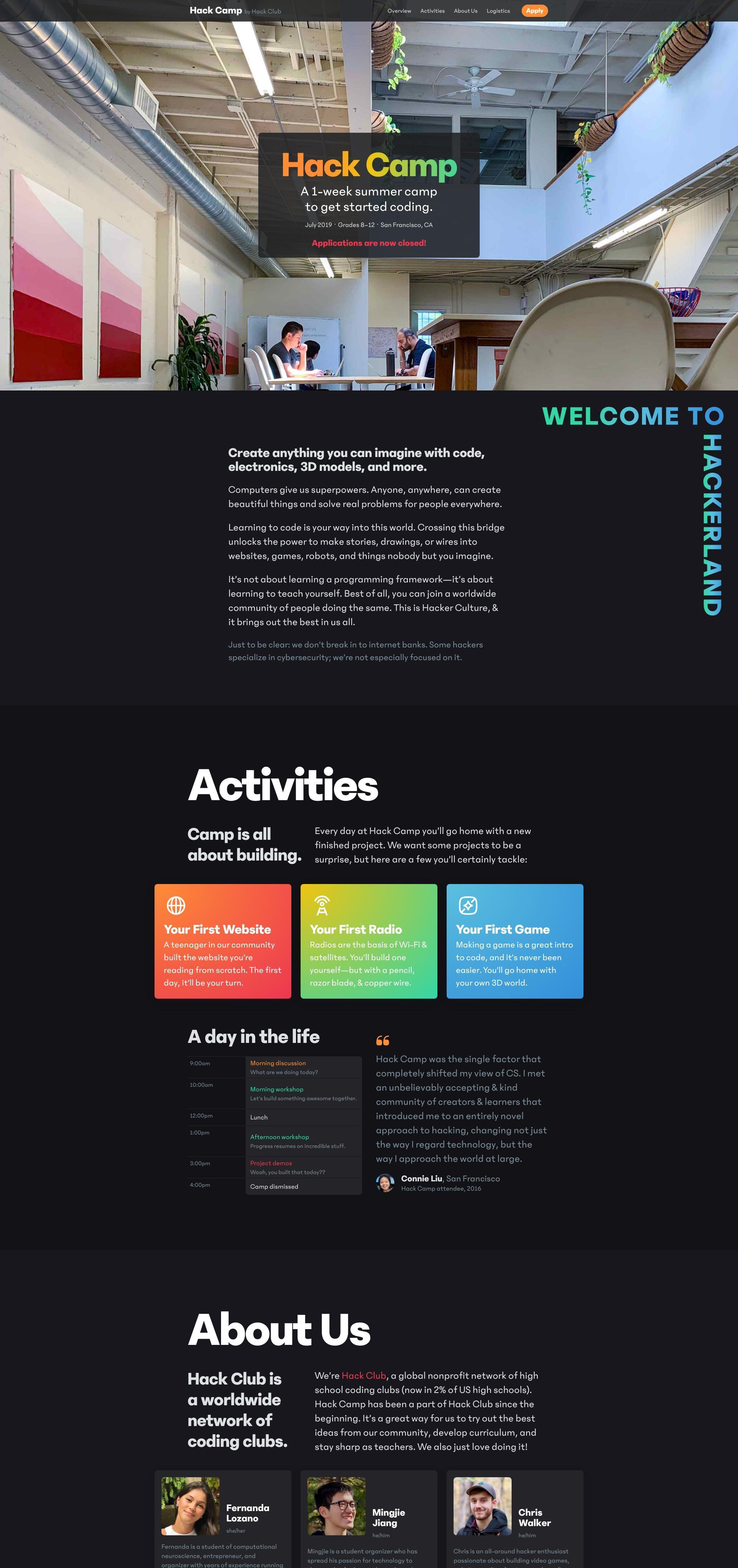 Hack Camp website screenshot